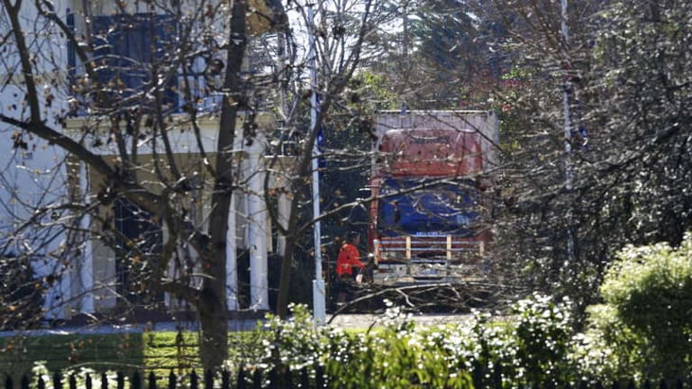 A removalists truck is seen at the Lodge.