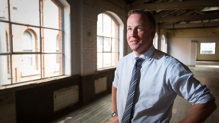 Will Hodgman at a campaign stop in the old <i>Mercury</i> newspaper building in Hobart.