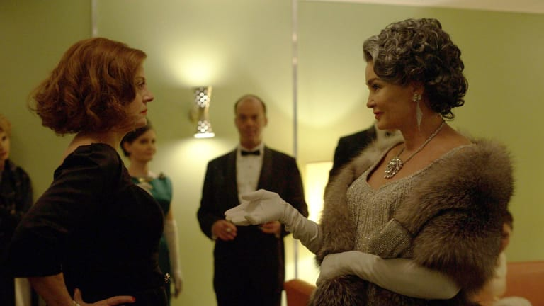 Susan Sarandon (left) as Bette Davis and Jessica Lange as Joan Crawford in Feud.