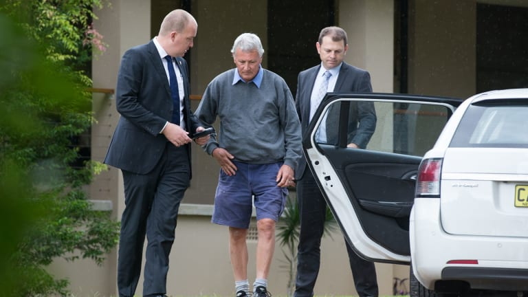 Bill Spedding in Port Macquarie is arrested in his Bonny Hills home by homicide detectives in April.