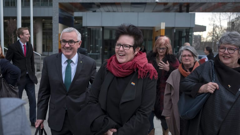 Independent Andrew Wilkie and Felicity Marlowe leave the High Court in Melbourne on Wednesday