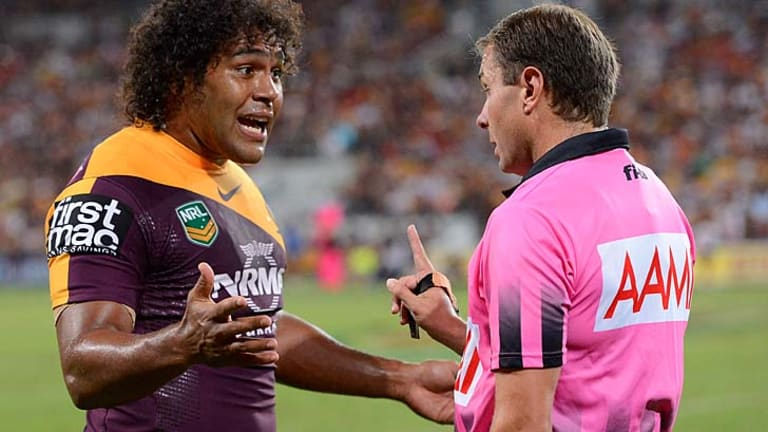 Costly remonstration: Sam Thaiday grabbed the shirt of referee Adam Devcich, the subject of a contrary-conduct charge.