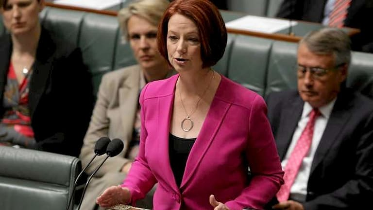 Former prime minister Julia Gillard introduces the NDIS in Parliament in November 2012.
