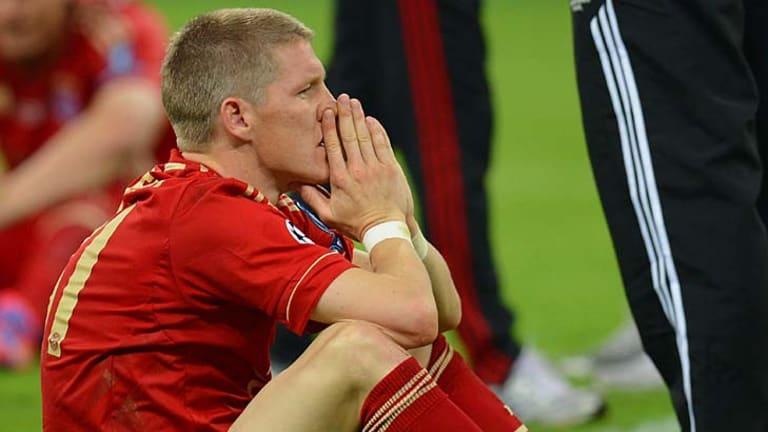 Bastian Schweinsteiger of Bayern Munich hit the post in the penalty shootout.