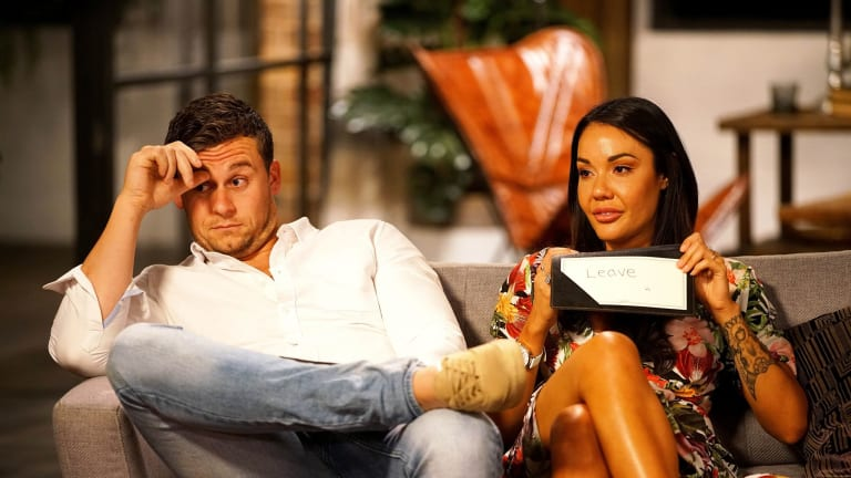 "Ryan Gallagher at the uncomfortable commitment ceremony with ""wife'' Davina Rankin on Married at First Sight."