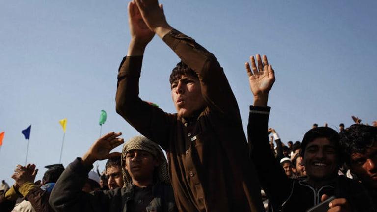 New boundaries: Fans cheer on the Afghan team.