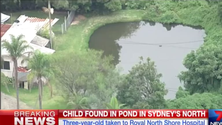 The three-year-old was pulled from a pond at the Ingleside home.