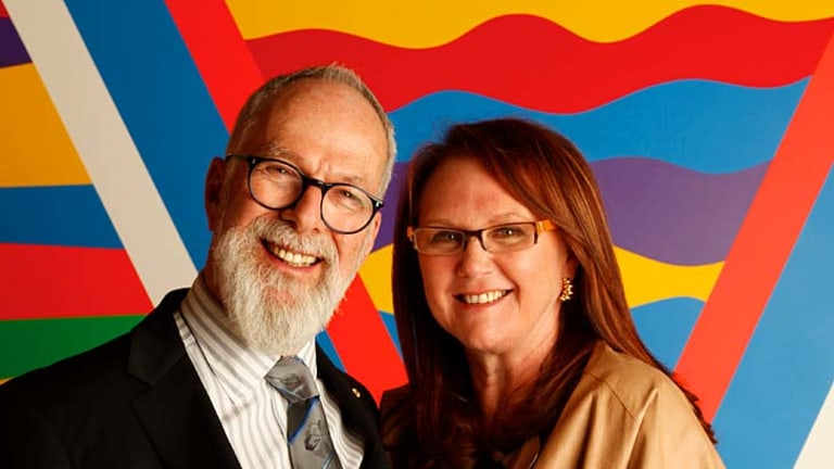 Eye for colour... John Kaldor and Naomi Milgrom Kaldor in the new gallery with Sol Lewitt's #1091 (2003).