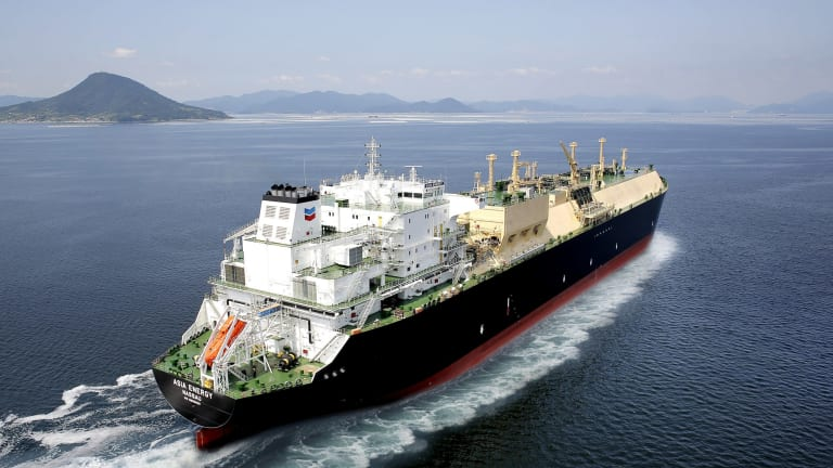 Chevron's Asia Energy LNG tanker, which will export from the Gorgon and Wheatstone projects in Western Australia to customers in Asia.