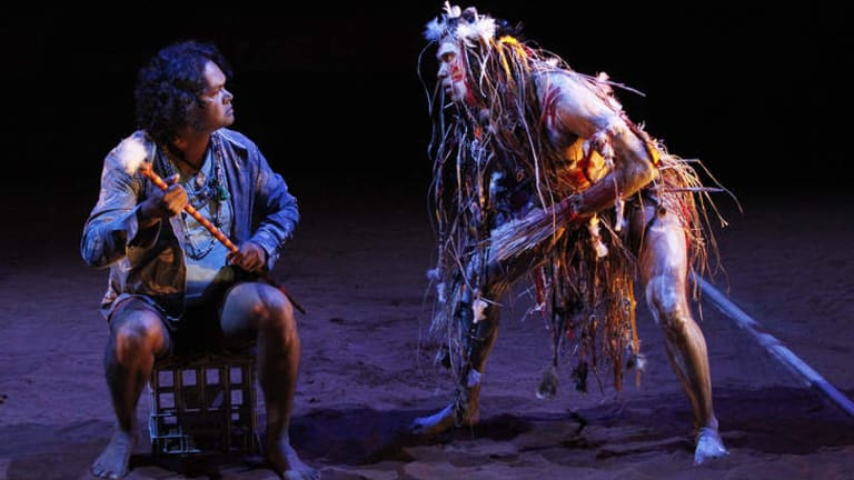 Kamahi Djordon King fuses the roles of Kent and The Fool, while Damion Hunter as Edgar dons body paint to play Poor Tom as a haunted bush spirit in <i>The Shadow King</i>.