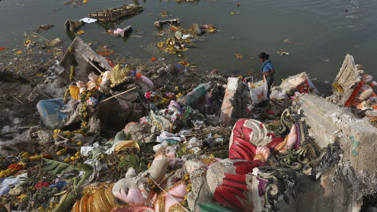 Water pollution is also a problem in India.