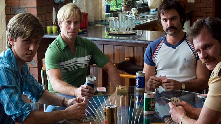 Actors in the WSC mini-series <i>Howzat!</i> re-create the roles played by (from left) John Cornell, Paul Hogan, Dennis Lillee and Austin Robertson.