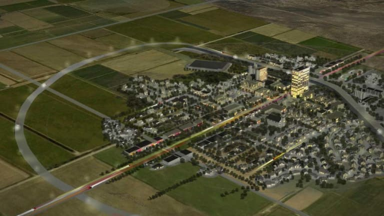 An artist rendering showing the $US1 billion scientific ghost town that will be developed in Lea County near Hobbs, New Mexico.