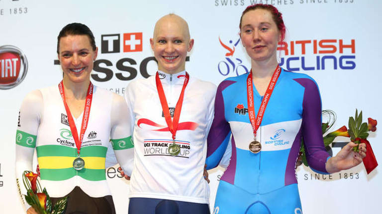 Silver medal winner Rebecca Wiasak of Australia with gold medal winner Joanna Rowsell of Great Britain and bronze medal winner Katie Archibald of Scotland.