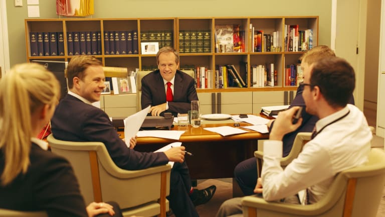 Team Bill: Shorten in Canberra in November with his staff, including Kimberley Gardiner (left) and Ryan Liddell (second from left).