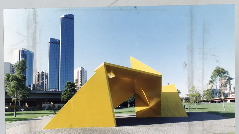 <i>Vault</i>, also known as the Yellow Peril, by sculptor Ron Robertson-Swann.