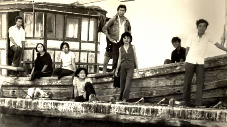 Vietnamese refugees aboard the refugee boat Kien Giang in 1979.