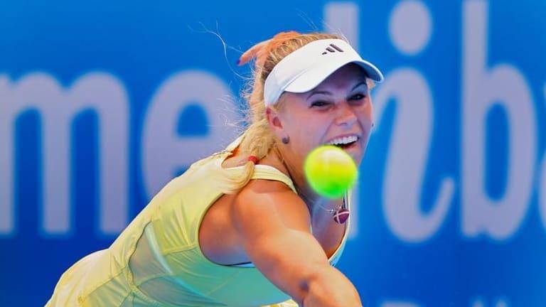 Close call ... Caroline Wozniacki.