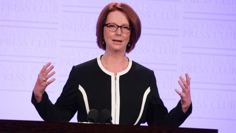 She can see clearly now ... Julia Gillard in <i>those</i> glasses.