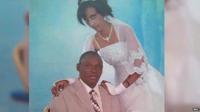 Meriam Yehya Ibrahim Ishag on her wedding day with husband Daniel Wani.