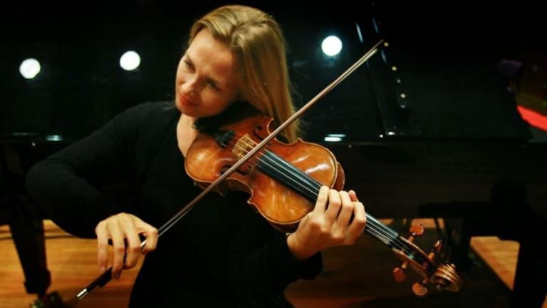 Satu Vanska, principal violin of the Australian Chamber Orchestra, with the Stradivarius violin.