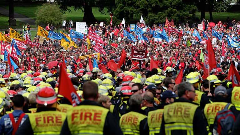 Bleeding talent … thousands of state public sector workers protest in Sydney last year against a proposed wage cap and job cuts.