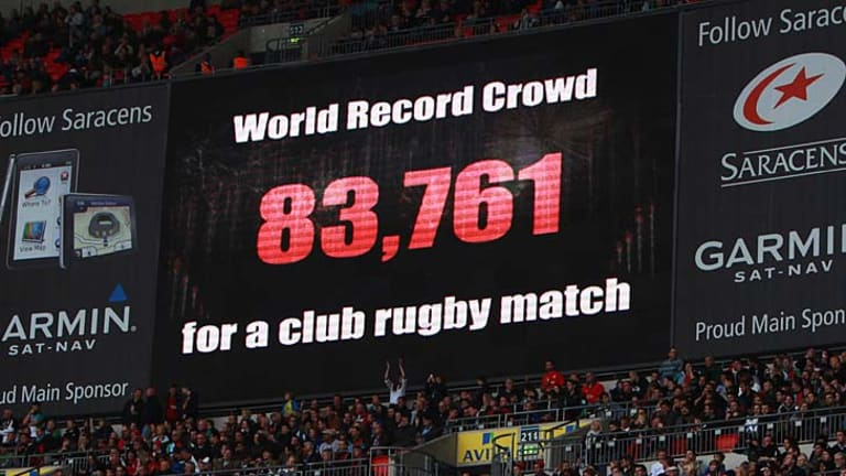 The scoreboard announces the record crowd during the Aviva Premiership match between Saracens and Harlequins at Wembley Stadium.