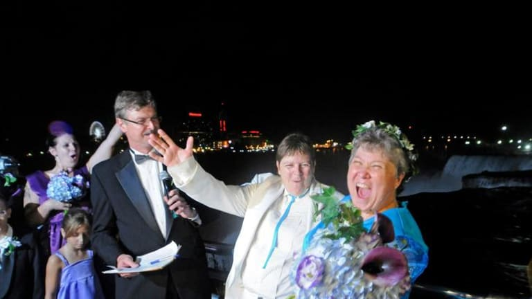 Cheryle Rudd and Kitty Lambert are some of the first people married as New York state embraces same-sex marriage.