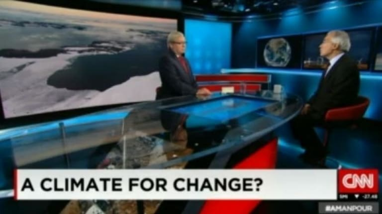 Pet issues ... Kevin Rudd discussed the Chinese economy and the challenges of climate change with expert sources on his first show as guest host on CNN.