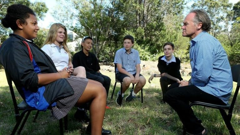 Writer Tony Birch leads a discussion with Footscray City College students in Melbourne as part of the Weather Stations project.