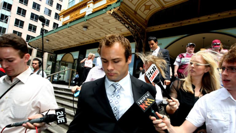 Media scrum ... Brett Stewart outside court yesterday where his sex assault committal hearing was adjourned. The Manly and Australian fullback has denied the charges.