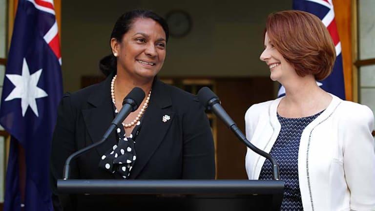 Women of steel … the Prime Minister, Julia Gillard, with Nova Peris at the announcement of Peris's endorsement.