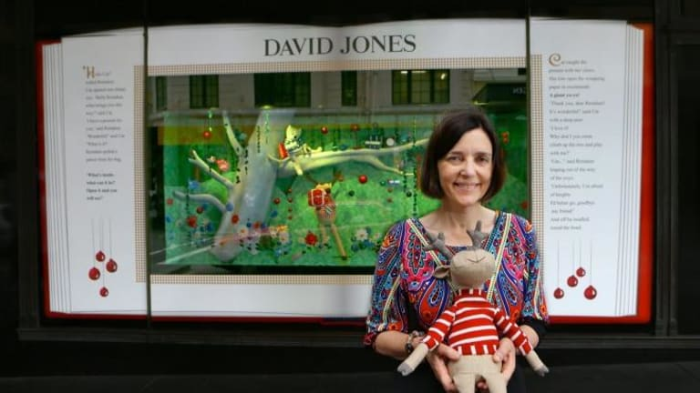 Deer's tale: Sydney children's writer Ursula Dubosarsky with the reindeer that inspired her story told in the David Jones Christmas windows this year.