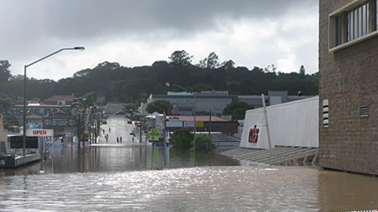 Flooding on Brisbane Street, Ipswich, on January 12.
