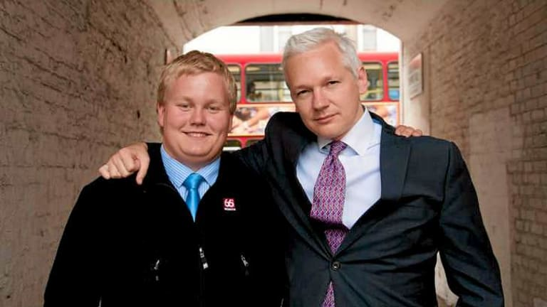 Good friends: Julian Assange and Sigurdur Thordarson in London.