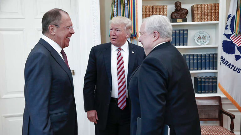 President Donald Trump meets with Russian Foreign Minister Sergey Lavrov, left, next to Russian Ambassador to the US Sergey Kislyak.