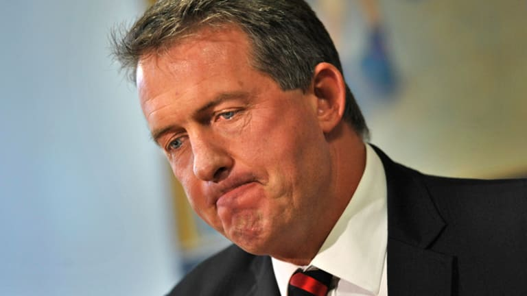 An emotional Ian Robson announces his resignation.