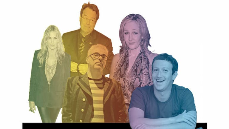 Disorderly queue … (from left) Daryl Hannah, Dan Aykroyd, David Walsh, J.K. Rowling and Mark Zuckerberg have all been linked with Asperger's syndrome.