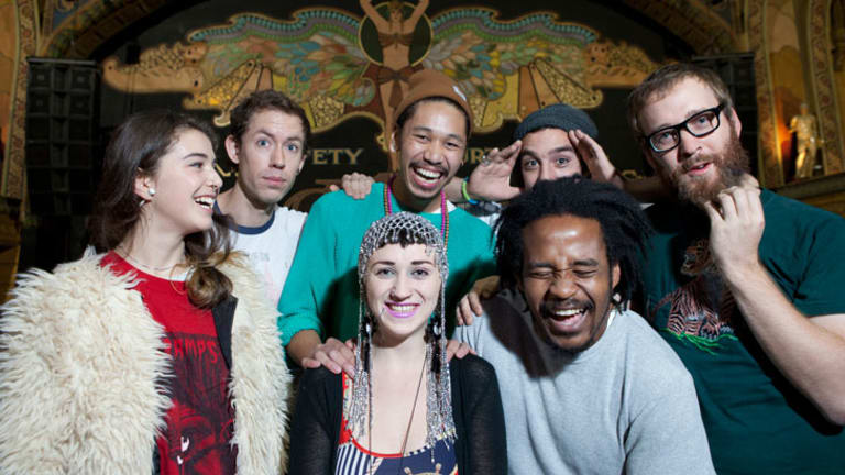 Nai Palm (front centre) with members of Hiatus Kaiyote at the Forum Theatre.