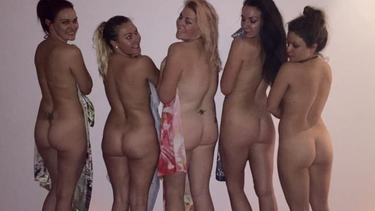 "Hit92.9 presenter Heidi Anderson (centre) convinced a few ""Perthonalities"" to join her at nude yoga."