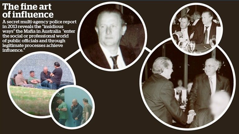 In March 2008, alleged mafia boss Tony Madafferi met three mafia drug traffickers in Flagstaff Gardens, Melbourne. The trio - Pat Barbaro, Tony Di Pietro and Saverio Zirilli - organised the world's biggest ecstasy shipment into Australia in 2007 (circled left). Liberal party photos reveal Madafferi meeting John Howard and other Liberal figures, including Robert Doyle, at various fundraisers (circled right). </p>