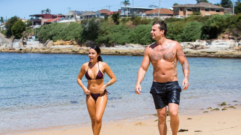 Married at First Sight's Davina Rankin and Ryan Gallagher at the beach during his home stay. They also visited his parents' farm at Goulburn.