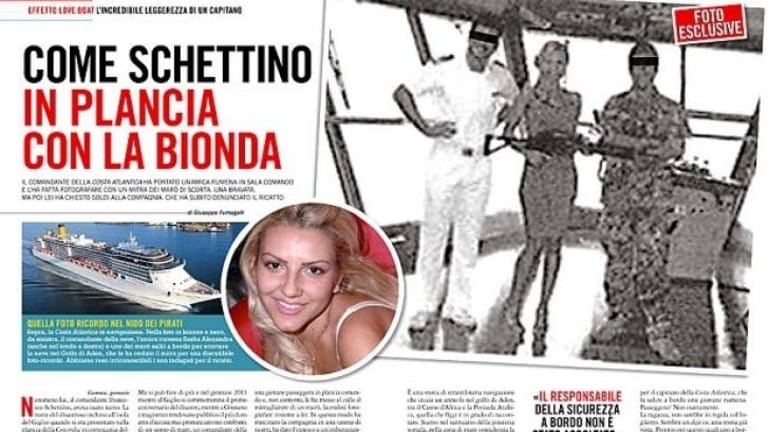 Woman poses with machinegun on bridge of another Costa liner - Pose Liner