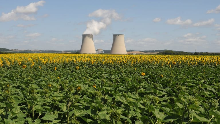 Cooling towers for an Electricite de France (EDF) nuclear power plant are seen in Nogent-sur-Seine, near Paris.