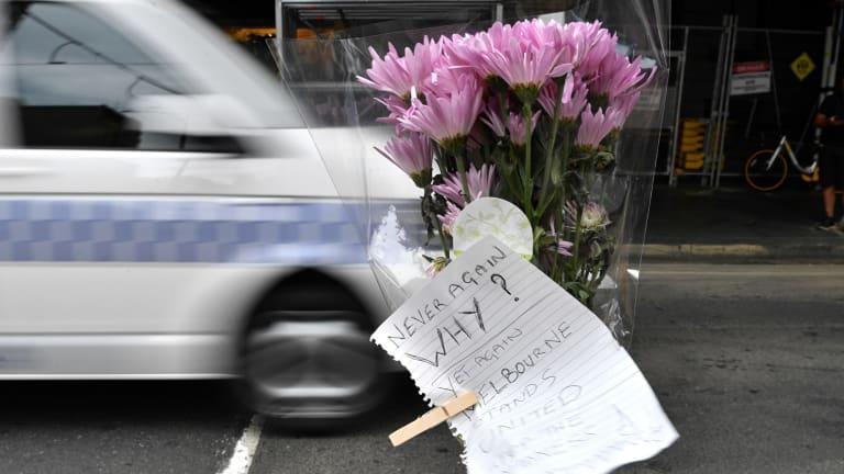 Flowers at the site on Flinders street where pedestrians were run down.