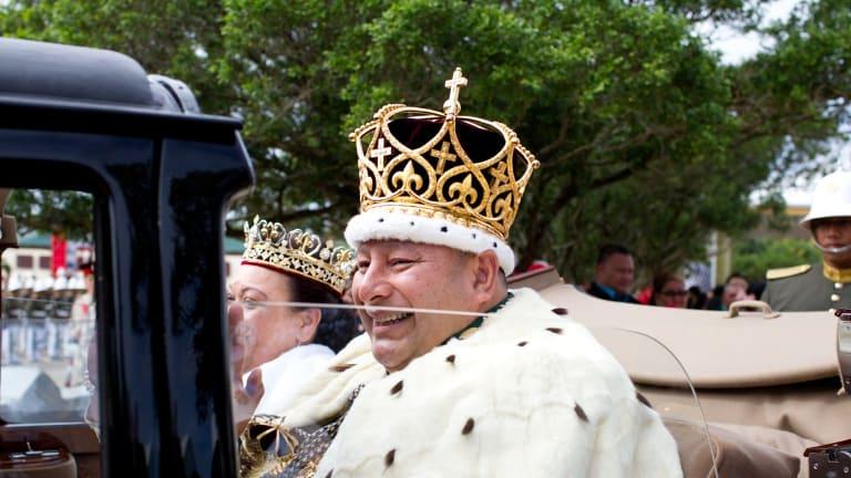 King Tupou VI leaves the coronation.