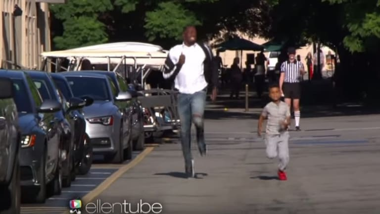 Too good: Demarjay Smith leaves Usain Bolt in his wake.