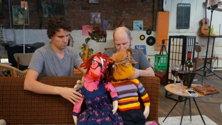 Puppeteers Lachlan McLeod and Mischa Long