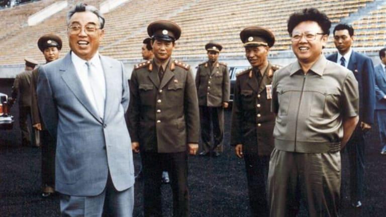 North Korea's founder, Kim Il-sung (left) and his son, Kim Jong-il in 1992.