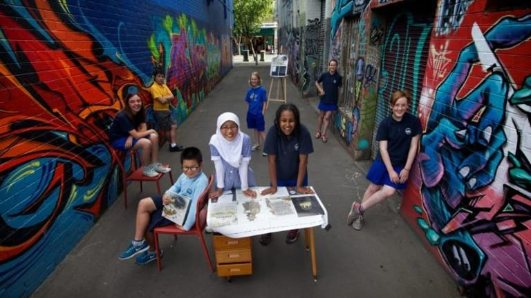 Young editors of Early Harvest Magazine, a literary magazine written, edited and published by a group of primary school students in Footscray.